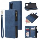 For Samsung A71 Case Smartphone Shell Precise Cutouts Zipper Closure Wallet Design Overall Protection Phone Cover  Blue
