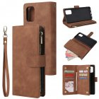 For Samsung A71 Case Smartphone Shell Precise Cutouts Zipper Closure Wallet Design Overall Protection Phone Cover  Brown