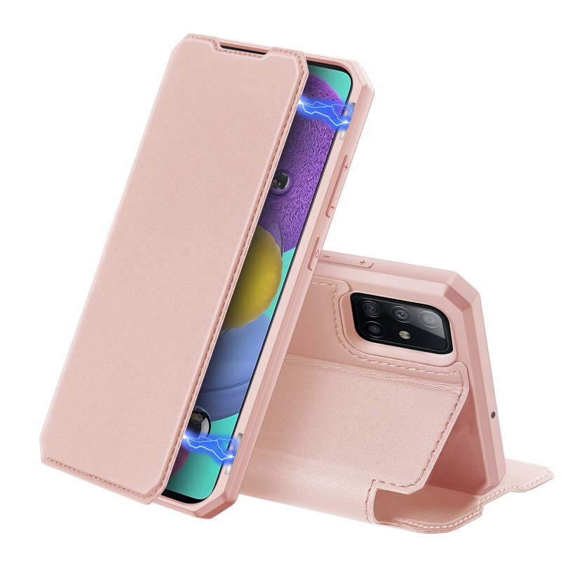 For Samsung A71 Magnetic Protective Case Bracket with Card Slot Leather Mobile Phone Cover Pink