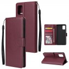 For Samsung A71 Phone Case PU Leather Shell All-round Protection Precise Cutout Wallet Design Cellphone Cover  Wine red