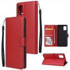 For Samsung A71 Phone Case PU Leather Shell All-round Protection Precise Cutout Wallet Design Cellphone Cover  Red