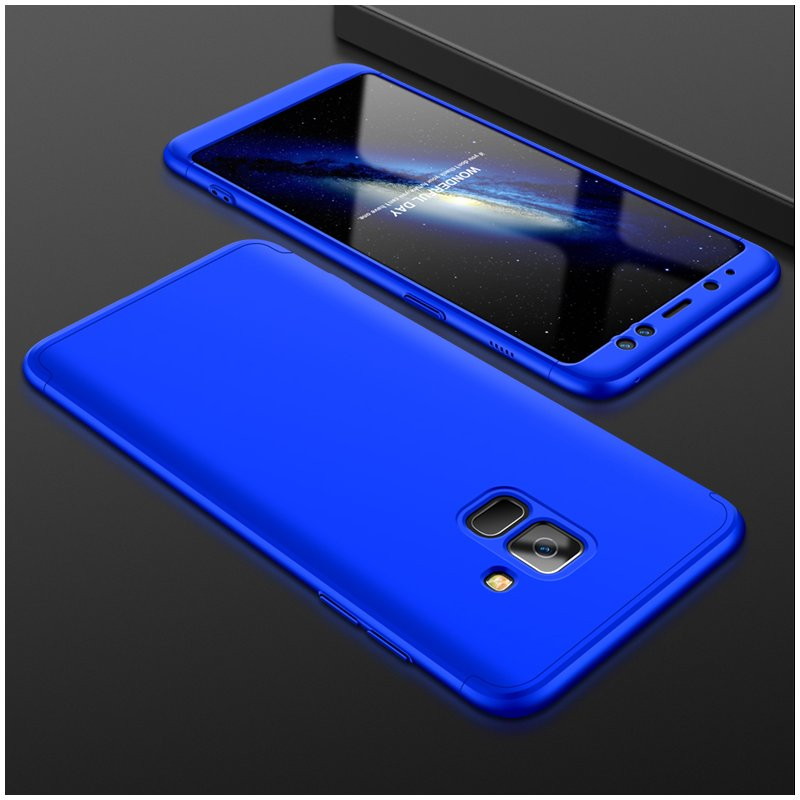 For Samsung A8 2018 360 Degree Protective Case Ultra Thin Hard Back Cover blue