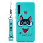 For Samsung A9 2018 Cartoon Lovely Coloured Painted Soft TPU Back Cover Non-slip Shockproof Full Protective Case with Lanyard Light blue