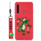 For Samsung A9 2018 Cartoon Lovely Coloured Painted Soft TPU Back Cover Non-slip Shockproof Full Protective Case with Lanyard red