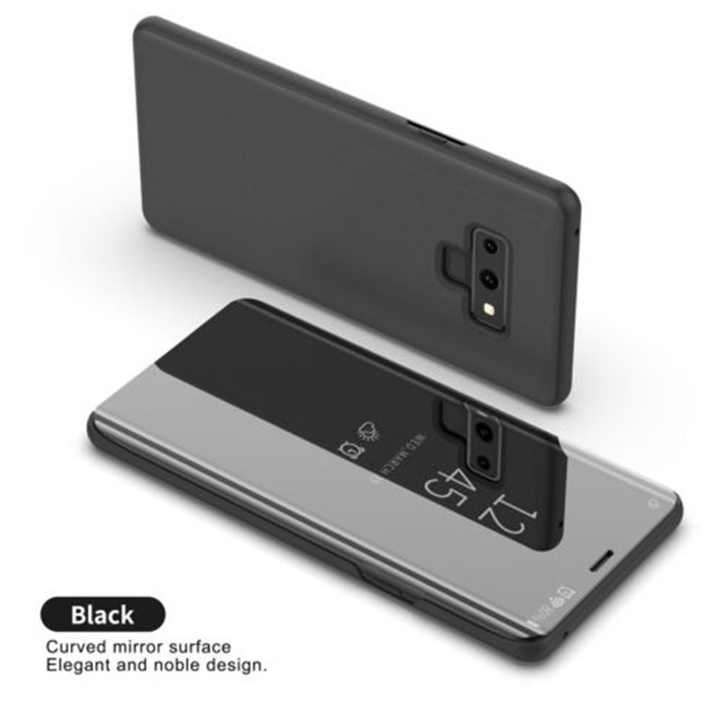 For Samsung Galaxy Note 9 Luxury Mirror View Flip Case Stand Shockproof Cover black