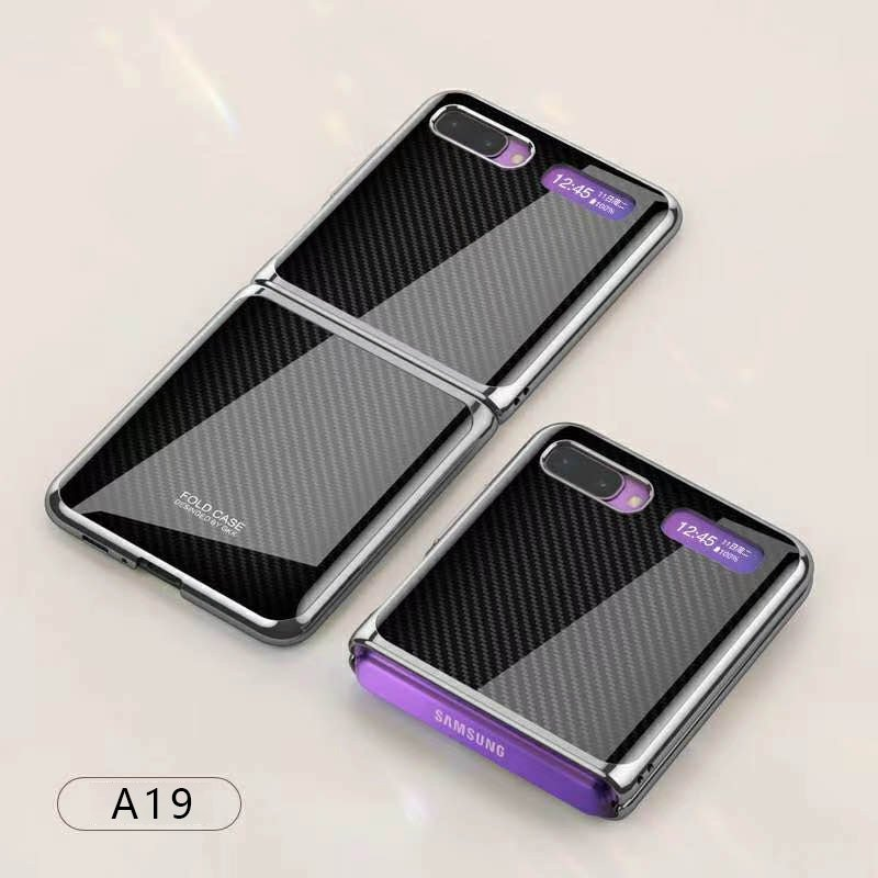 For Samsung Galaxy Z flip Foldable Cellphone Shell Electroplated Painted Folding Phone Case A19 carbon fiber pattern