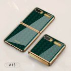 For Samsung Galaxy Z flip Foldable Cellphone Shell Electroplated Painted Folding Phone Case A13 woven green pattern