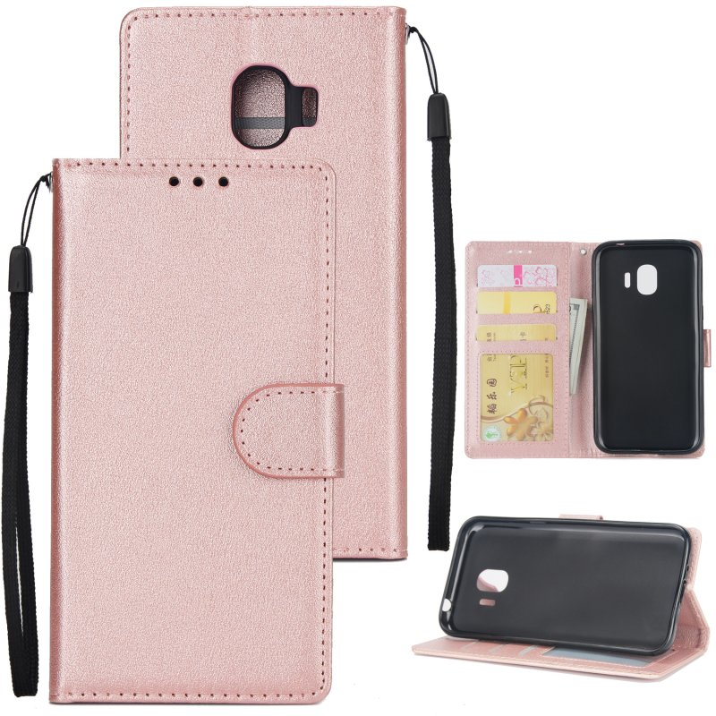For Samsung J2 PRO 2018/Grand Prime Pro/J250 PU Cell Phone Case Protective Cover Shell with Buckle Rose gold