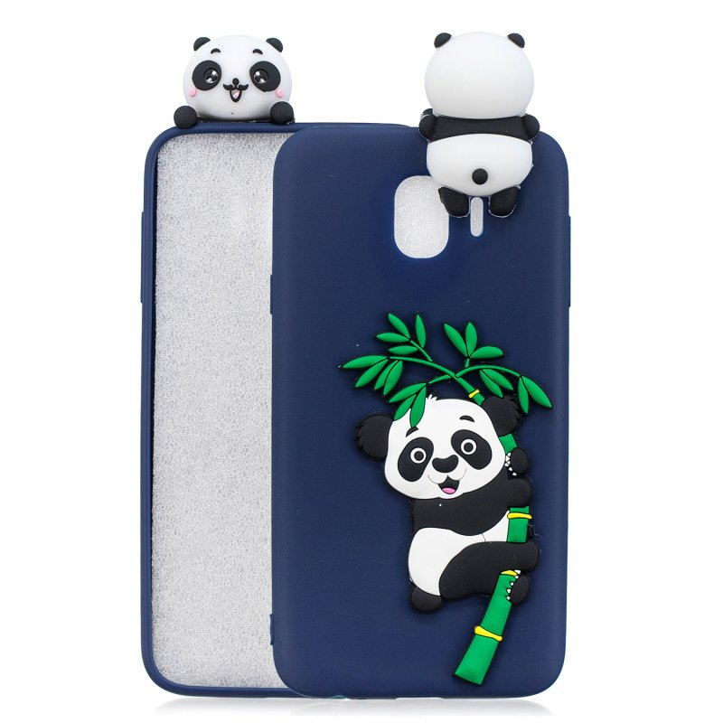 For Samsung J4 2018/J4 Plus Phone Case 3D Cartoon Panda Bamboo Cellphone Back Shell Shockproof Smartphone Cover Royal Blue