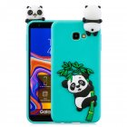 For Samsung J4 2018 J4 Plus Phone Case 3D Cartoon Panda Bamboo Cellphone Back Shell Shockproof Smartphone Cover Light blue