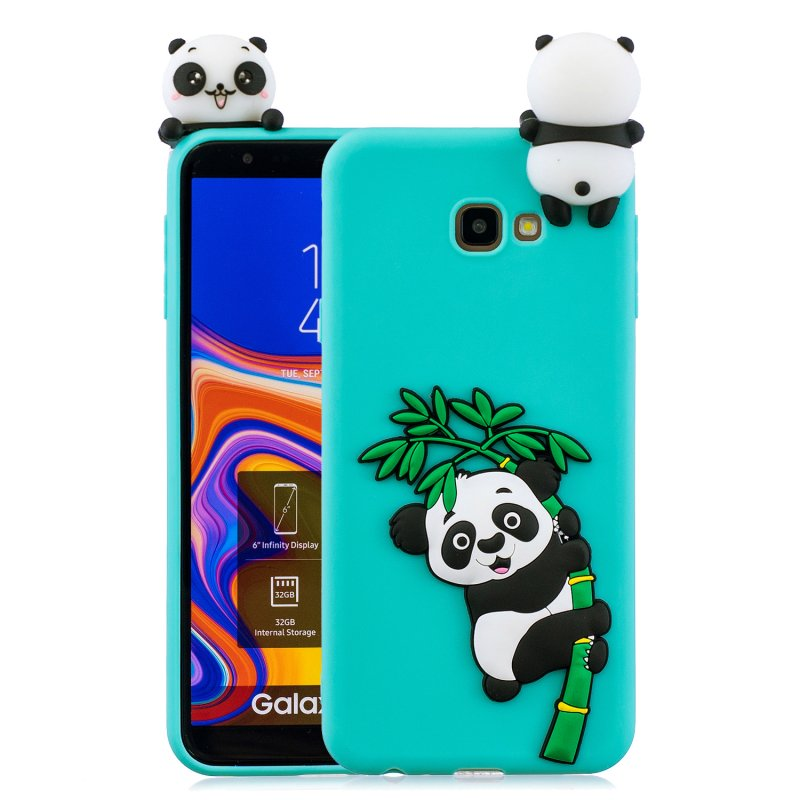 For Samsung J4 2018/J4 Plus Phone Case 3D Cartoon Panda Bamboo Cellphone Back Shell Shockproof Smartphone Cover Light blue