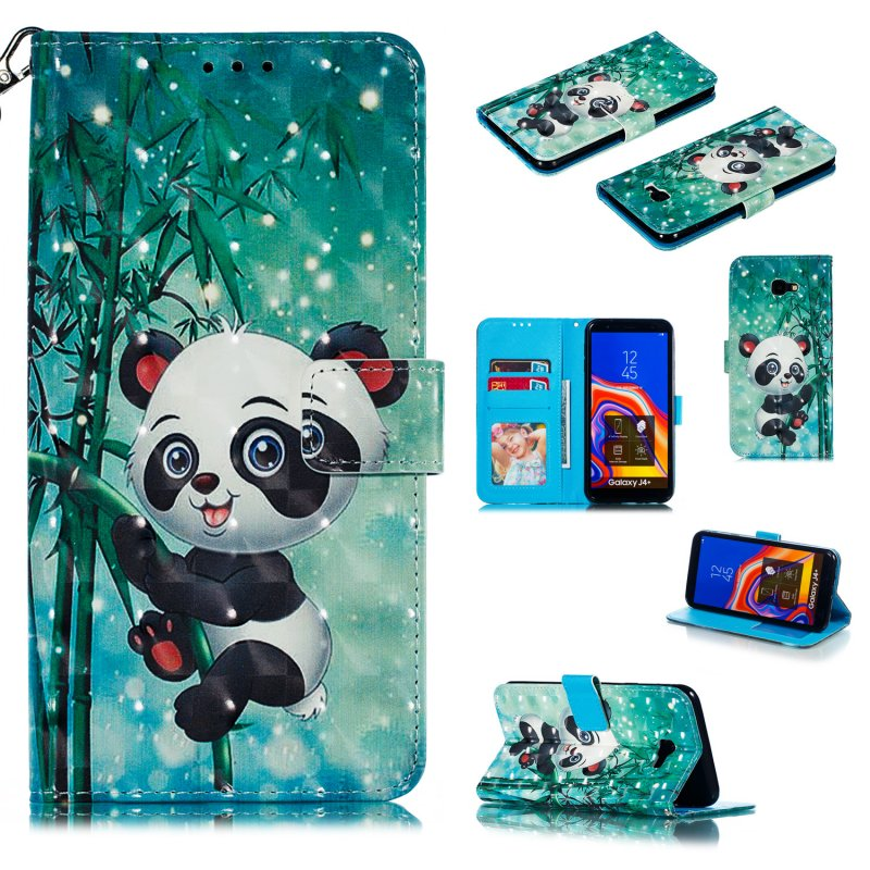 For Samsung J4+/J4 PLUS Cool 3D Coloured Painted PU Magnetic Clasp Wallet Phone Case with Bracket Lanyard Climbing bamboo panda