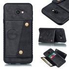 For Samsung J4 PLUS PU Protective Phone Back Case with Card Slot Bracket black