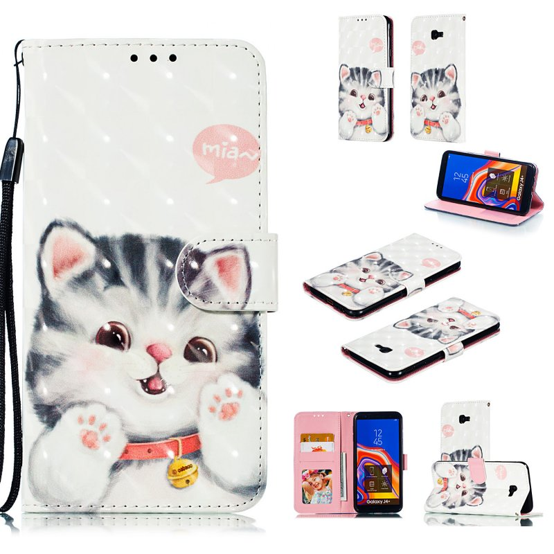 For Samsung J4 plus 2018 European Edition 3D Coloured Painted Full Protective Cover with Button Card Slots Bracket Lanyard Jingle cat