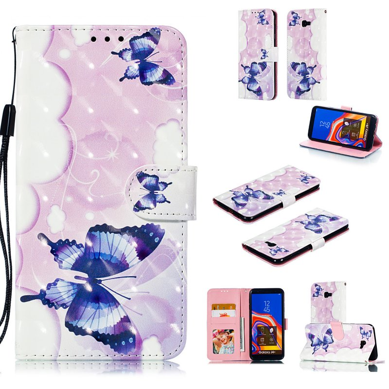 For Samsung J4 plus 2018 European Edition 3D Coloured Painted Full Protective Cover with Button Card Slots Bracket Lanyard Swallowtail butterfly