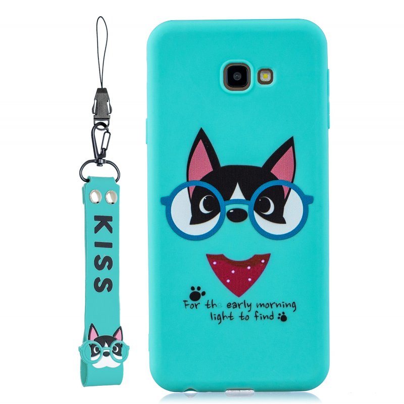For Samsung J4 plus Cute Coloured Painted TPU Anti-scratch Non-slip Protective Cover Back Case with Lanyard Light blue