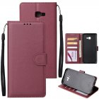 For Samsung J4 plus Flip-type Leather Protective Phone Case with 3 Card Position Buckle Design Phone Cover  Red wine