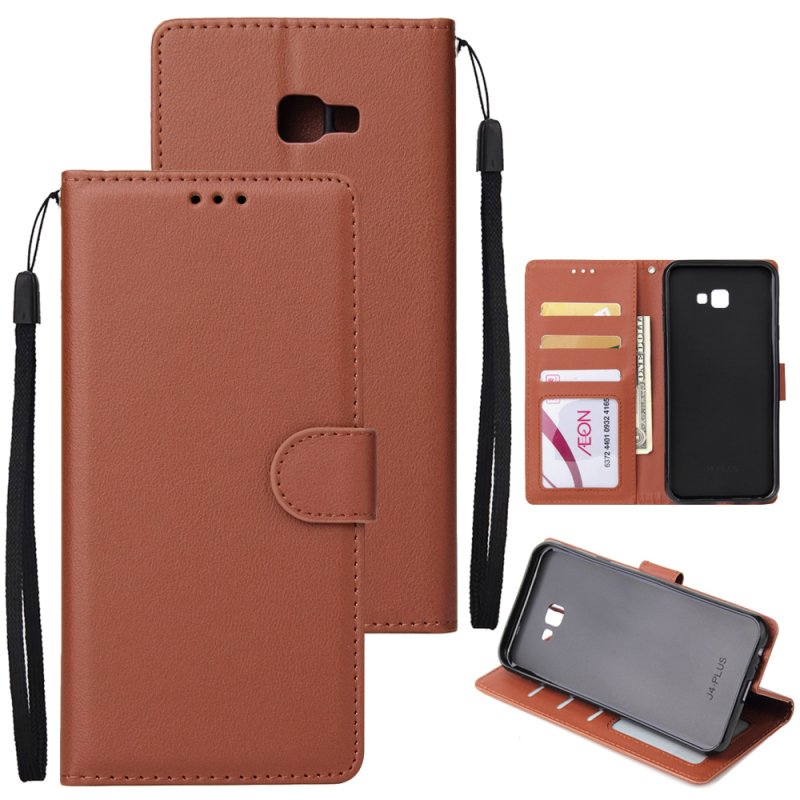 For Samsung J4 plus Flip-type Leather Protective Phone Case with 3 Card Position Buckle Design Phone Cover  brown
