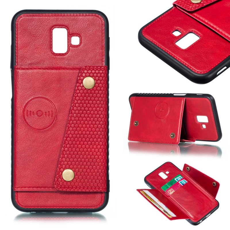 For Samsung J6 PLUS Double Buckle Non-slip Shockproof Cell Phone Case with Card Slot Bracket red
