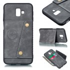For Samsung J6 PLUS Double Buckle Non-slip Shockproof Cell Phone Case with Card Slot Bracket gray
