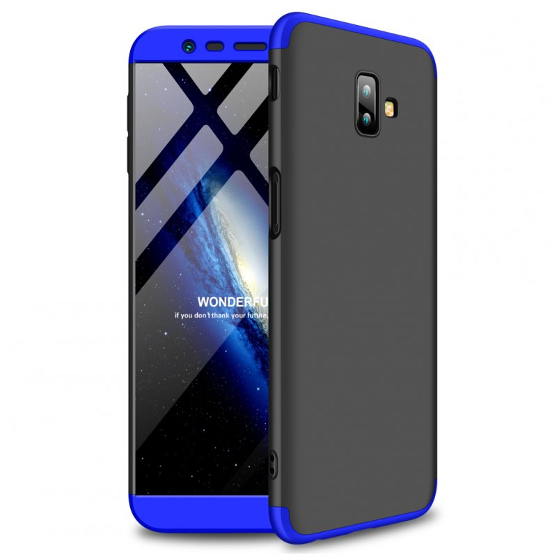 For Samsung J6 Plus/ J6 Prime 3 in 1 360 Degree Non-slip Shockproof Full Protective Case Blue black blue_Samsung J6 Plus/ J6 Prime