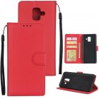 For Samsung J6 plus Flip type Leather Protective Phone Case with 3 Card Position Buckle Design Phone Cover  red