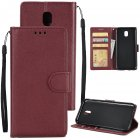 For Samsung J7 2017 European Edition/J730/J7 PRO PU Leather Protective Phone Case with 3 Card Position wine red