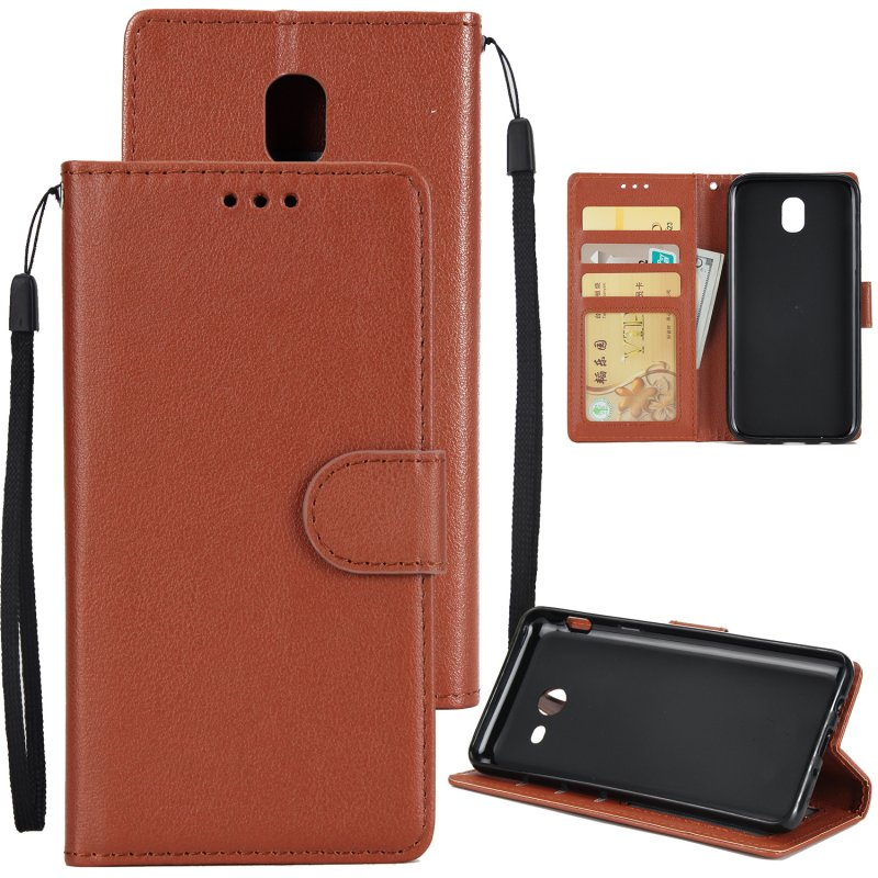 For Samsung J7 PLUS/J7+ Full Protective Clip Case Cover PU Stylish Shell with Card Slot brown