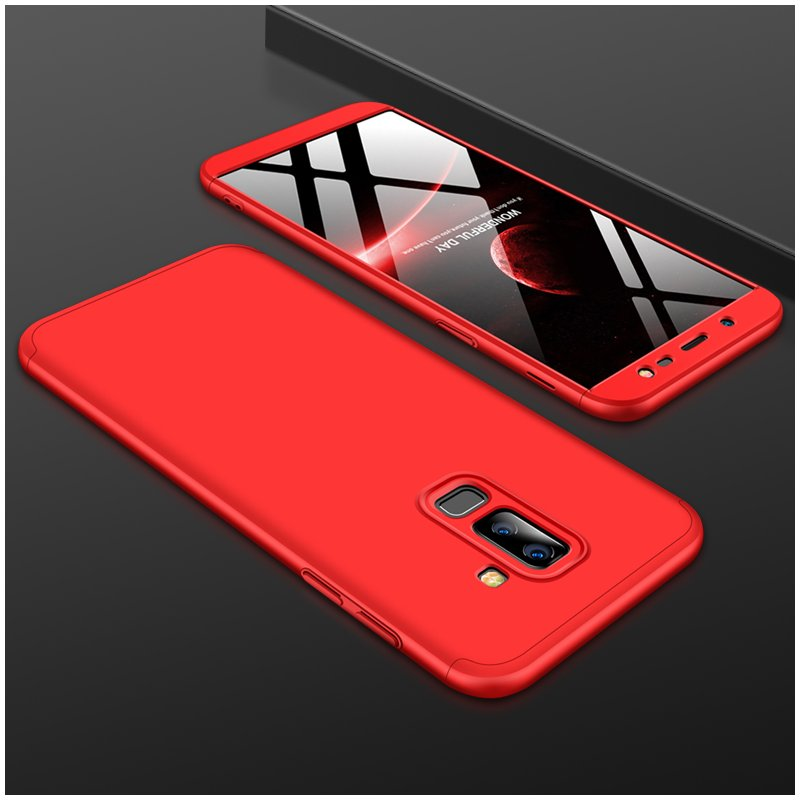 For Samsung J8 2018 360 Degree Protective Case Ultra Thin Hard Back Cover red