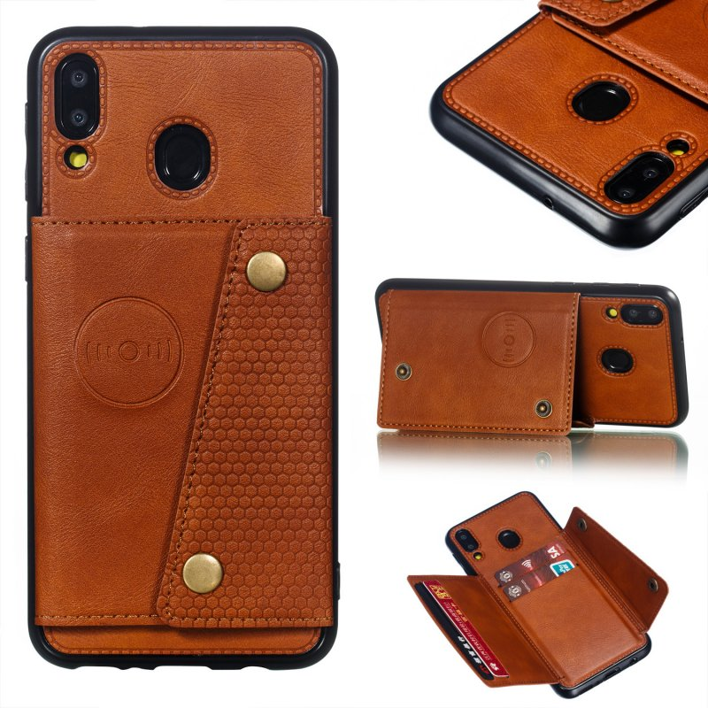 For Samsung M20 Double Buckle Phone Case Protective Cover with Card Holder Bracket Light Brown