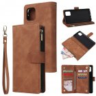 For Samsung NOTE 10 Lite Case Smartphone Shell Wallet Design Zipper Closure Overall Protection Cellphone Cover  4 brown