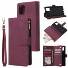 For Samsung NOTE 10 Lite Case Smartphone Shell Wallet Design Zipper Closure Overall Protection Cellphone Cover  5 wine red