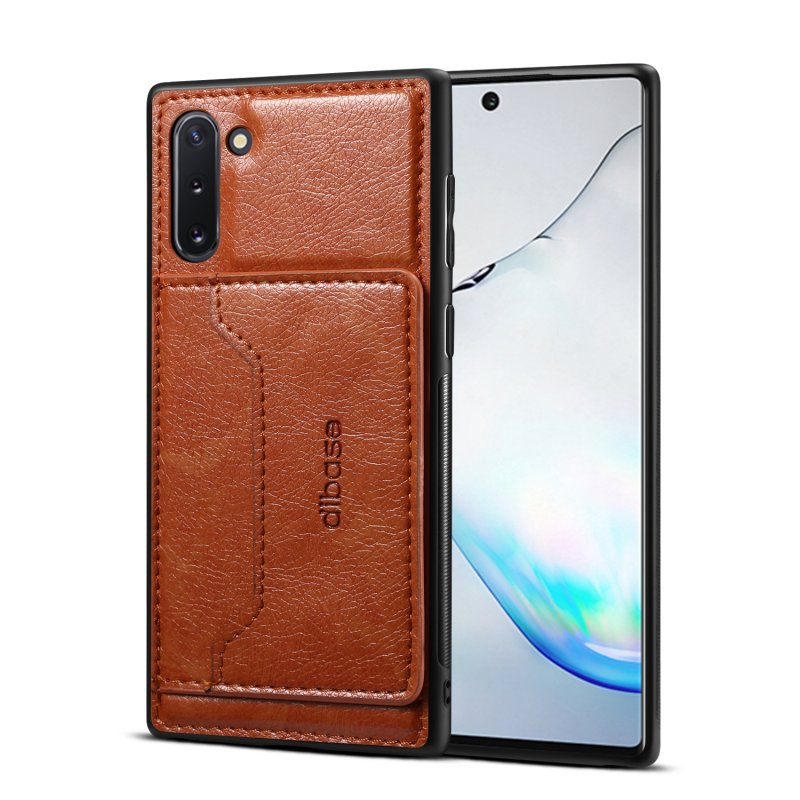 For Samsung Note 10/10 Pro Cellphone Cover 2-in-1 Stand Function Textured PU Leather Anti-scratch Overall Protection Case Card Holder brown