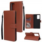 For Samsung Note 20 Note 20 Ultra PU Leather Three card Photo Frame Front Buckle Mobile Phone shell brown