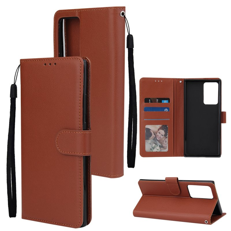 For Samsung Note 20/Note 20 Ultra PU Leather Three-card Photo Frame Front Buckle Mobile Phone shell brown