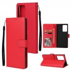For Samsung Note 20/Note 20 Ultra PU Leather Three-card Photo Frame Front Buckle Mobile Phone shell red