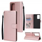 For Samsung Note 20/Note 20 Ultra PU Leather Three-card Photo Frame Front Buckle Mobile Phone shell Rose gold