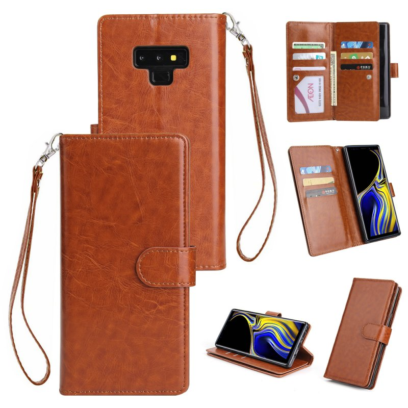 For Samsung Note 9 PU Full Protective Cover with 9 Card Slot Lanyard Bracket Buckle brown