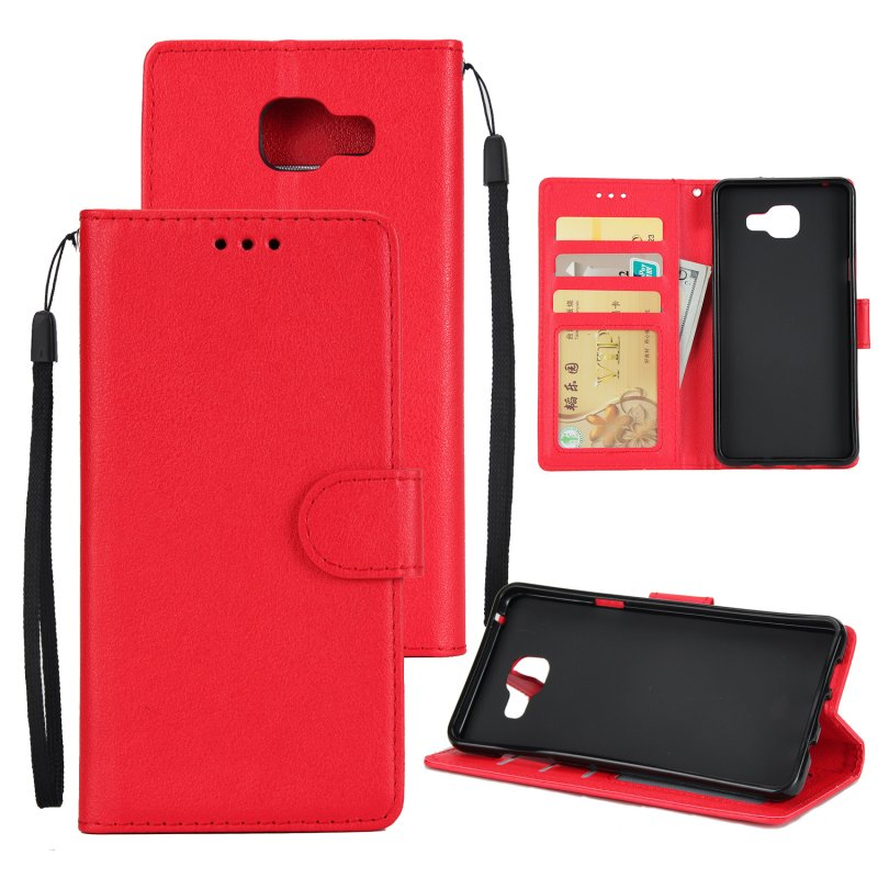 For Samsung On7-2016/J7 Prime Protective Cover PU Cell Phone Case with Card Slot red