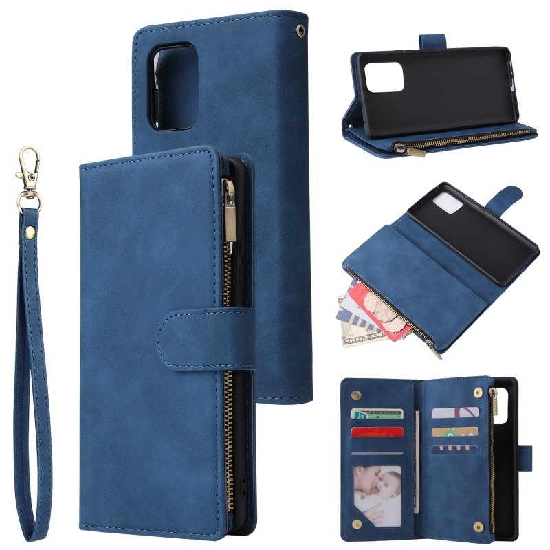 For Samsung S10 Lite 2020 Mobile Phone Case Wallet Design Zipper Closure Overall Protection Cellphone Cover  2 blue
