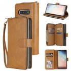 For Samsung S10 S20 S10E  S10 Plus Pu Leather  Mobile Phone Cover Zipper Card Bag   Wrist Strap brown