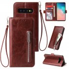 For Samsung S10 Solid Color PU Leather Zipper Wallet Double Buckle Protective Case with Stand   Lanyard brown