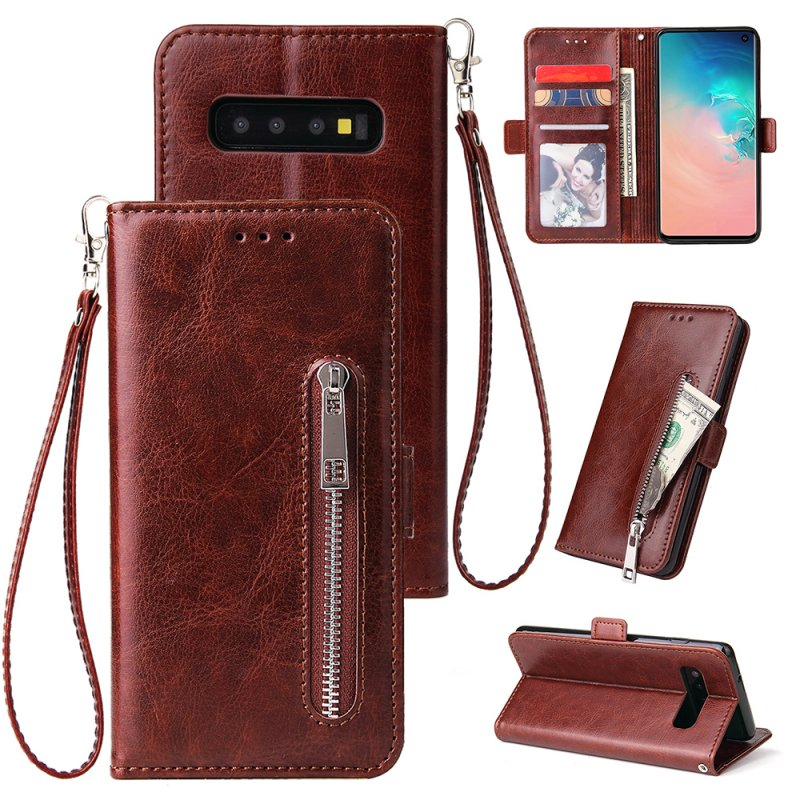 For Samsung S10 Solid Color PU Leather Zipper Wallet Double Buckle Protective Case with Stand & Lanyard brown