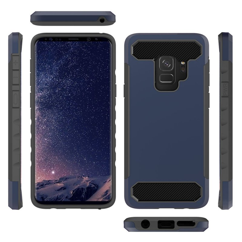 For Samsung S9 2 in 1 Carbon Fiber Pattern Protection Back Cover