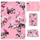 For Samsung T510 T515 Laptop Protective Case with Front Snap Cute Cartoon Color Painted Smart Stay PU Cover  Pink flower
