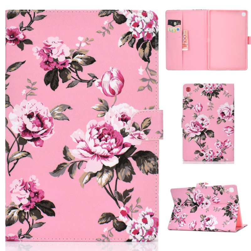 For Samsung T510/T515 Laptop Protective Case with Front Snap Cute Cartoon Color Painted Smart Stay PU Cover  Pink flower
