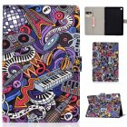 For Samsung T510/T515 Laptop Protective Case with Front Snap Cute Cartoon Color Painted Smart Stay PU Cover  Graffiti