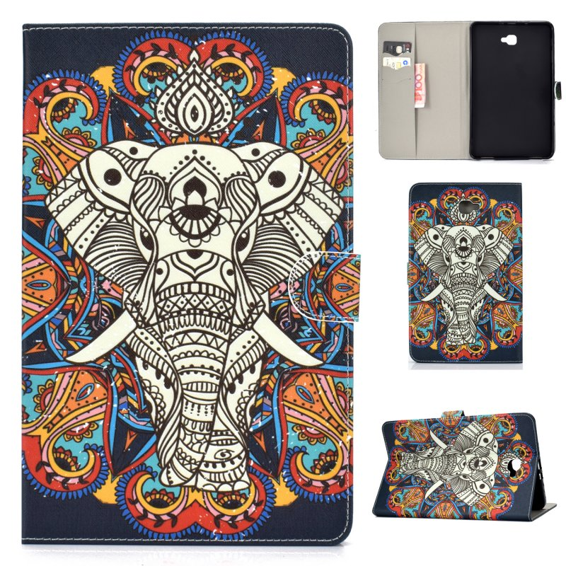 For Samsung T580 PU Laptop Protective Case with Front Snap Color Painted Smart Stay Cover  Fun elephant