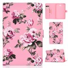 For Samsung T580 PU Laptop Protective Case with Front Snap Color Painted Smart Stay Cover  Pink flower