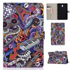 For Samsung T590 Laptop Protective Case Color Painted Smart Stay PU Cover with Front Snap Graffiti